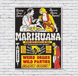 VinMea Metal Tin Sign,Vintage Marijuana Propaganda Old Fashioned Reefer Aluminum Sign Wall Art Decor Metal Sign,Public Sign,Decoration Sign 8x12 Inches