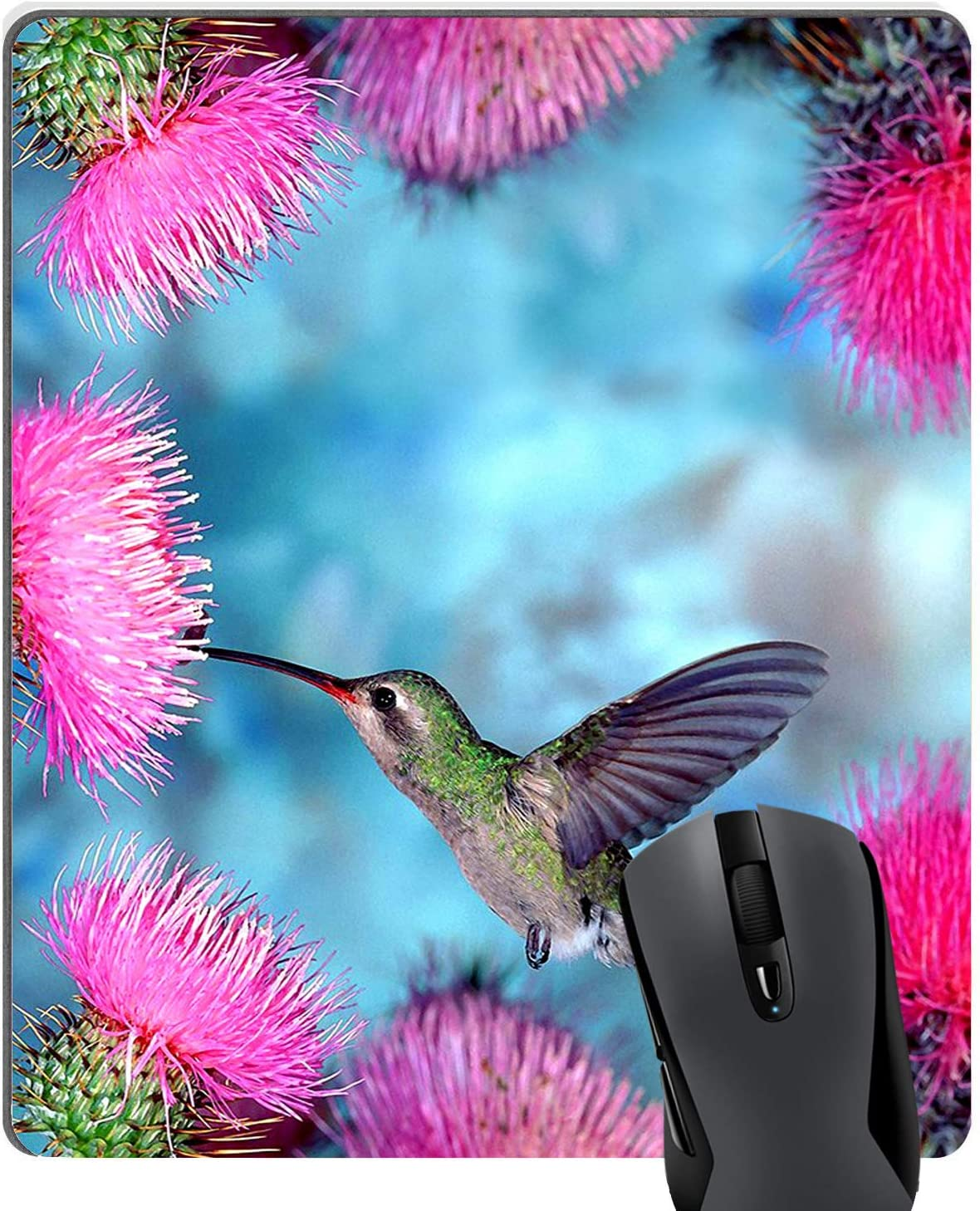 Knseva Cute Hummingbird Pink Dandelion Flowers Large Rectangle Mouse Pad