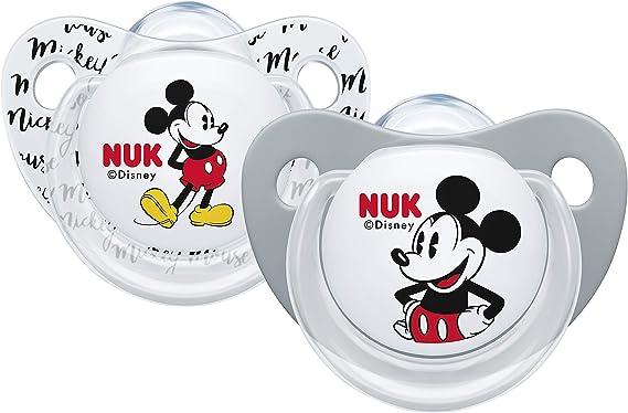 Nuk Mickey & Minnie - Chupetes fisiológicos de silicona T1, 0 - 6 ...