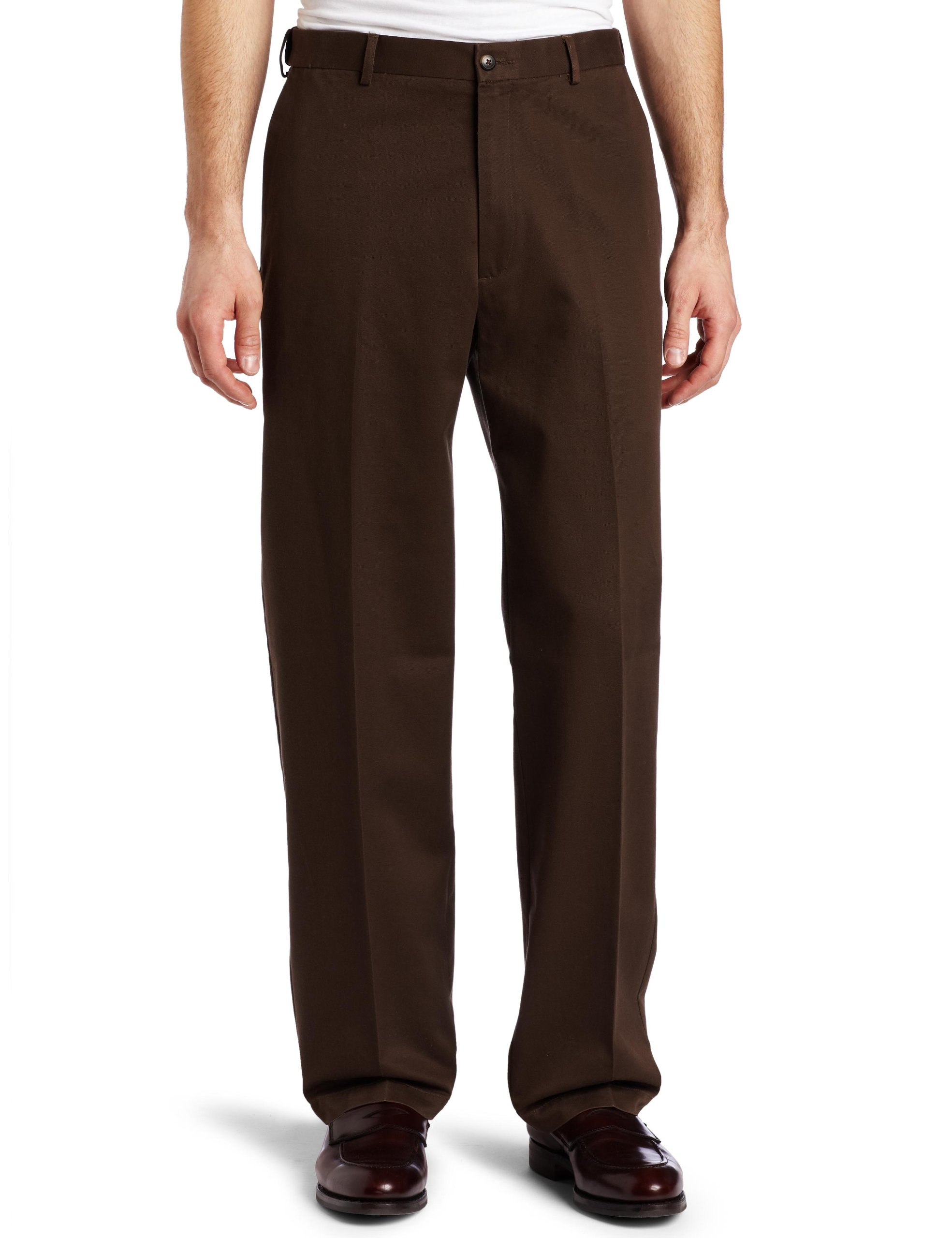 Haggar Men's Work To Weekend Hidden Expandable Waist No Iron Plain Front Pant,Bean,42x29