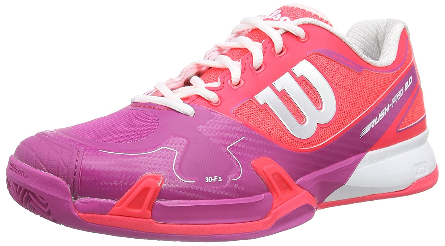 Wilson Rush Pro 2.0 Clay Court W Neon Red W 4.5, Chaussures spécial Tennis pour Femme 41 1/3 WRS319700E075
