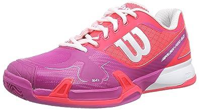 Wilson Rush Pro 2.0 Clay Court W Neon Red W/F 4, Damen Tennisschuhe, Mehrfarbig (Dark Peony), 36 1/3