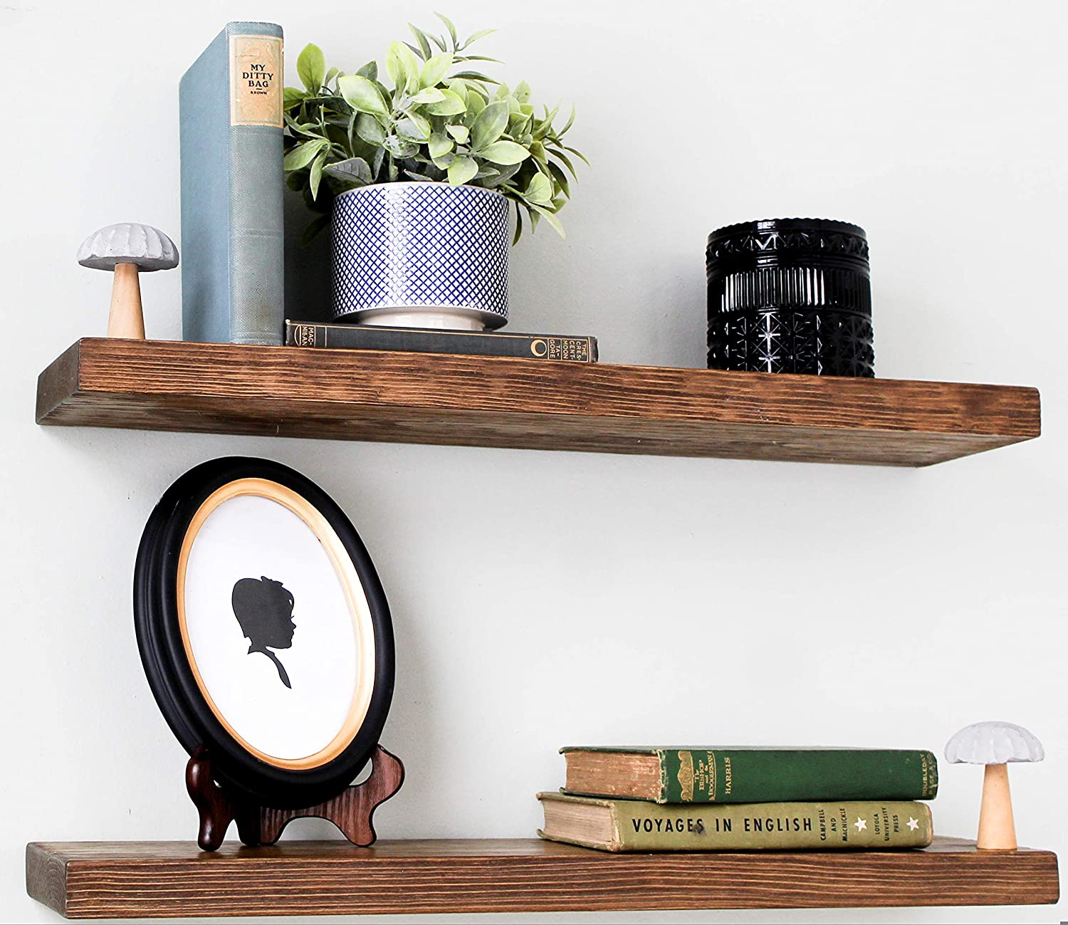 Willow & Grace Rustic Farmhouse Shelves - Natural 24 inch Floating Shelves, Easily Mounted | Perfect Rustic Floating Shelves for Bathroom, Kitchen and Bedroom | Light Walnut (24