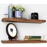 Willow & Grace Rustic Farmhouse Shelves - Natural 24 inch Floating Shelves, Easily Mounted | Perfect Rustic Floating Shelves