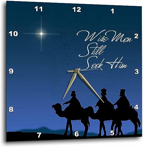 3dRose DPP_30754_3 Wise Men Still Seek Him Magi Following The Christmas Star Wall Clock, 15 by 15
