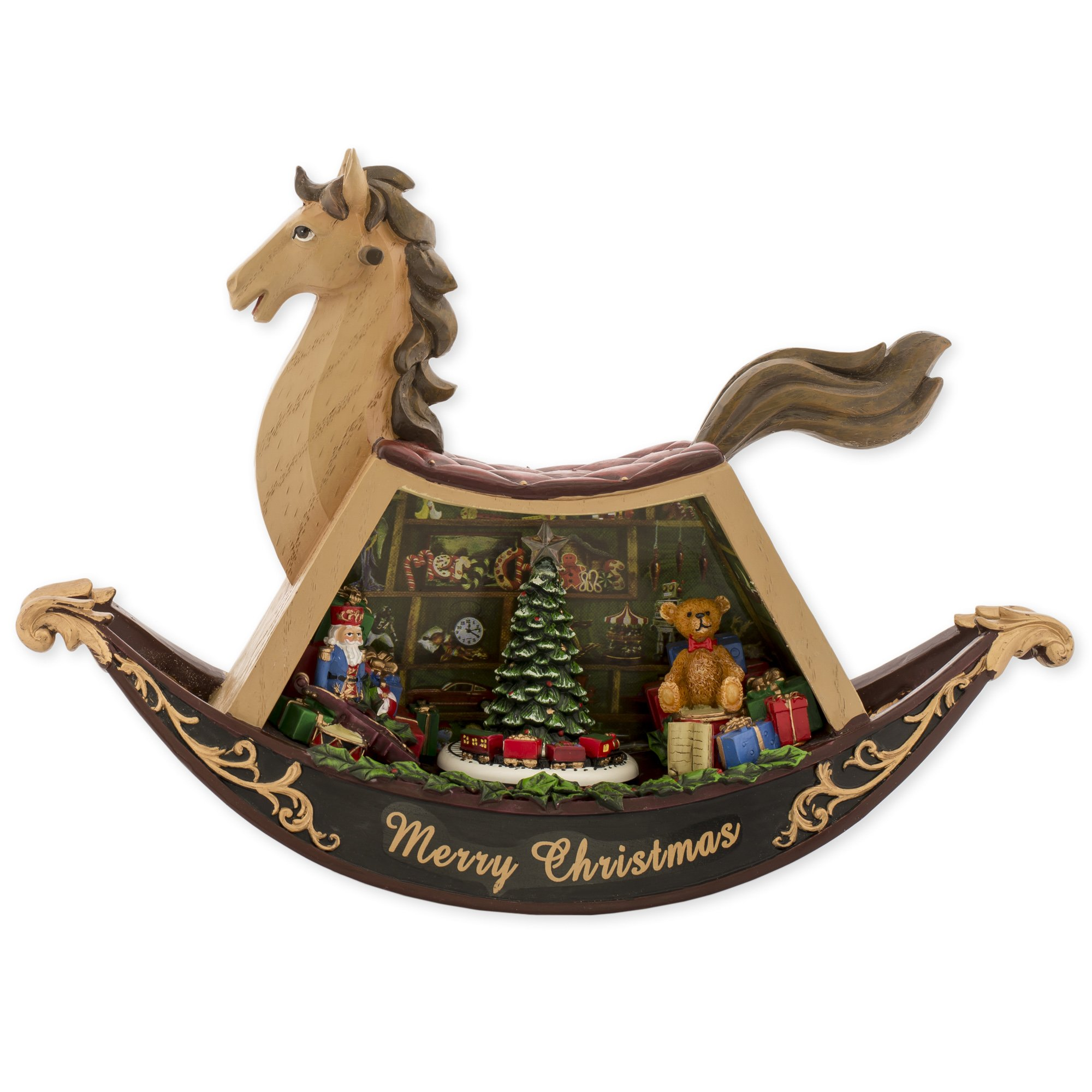 MusicBox Kingdom 56012 - Rocking Horse with 8 Different Christmas Melodies