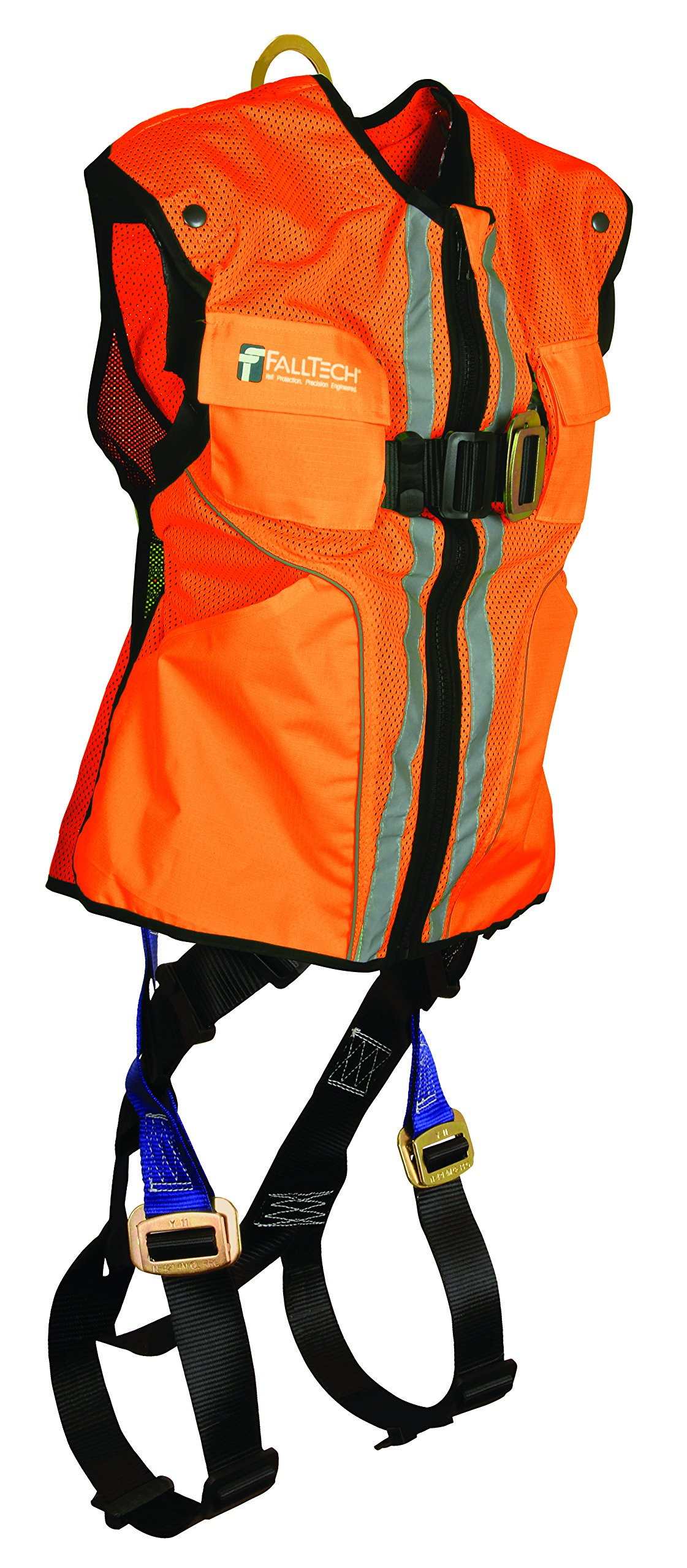 FallTech 7015SMO Hi-Vis Vest Harness, Non-Belted FBH - 1 Back D-Ring, Mating Buckle Legs and Chest, Contractor-Grade Reflective Vest, Orange, Small/Medium, Orange/Blue