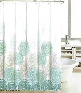 Amazon.com: Max Studio Fabric Shower Curtain Light Green and Gray ...