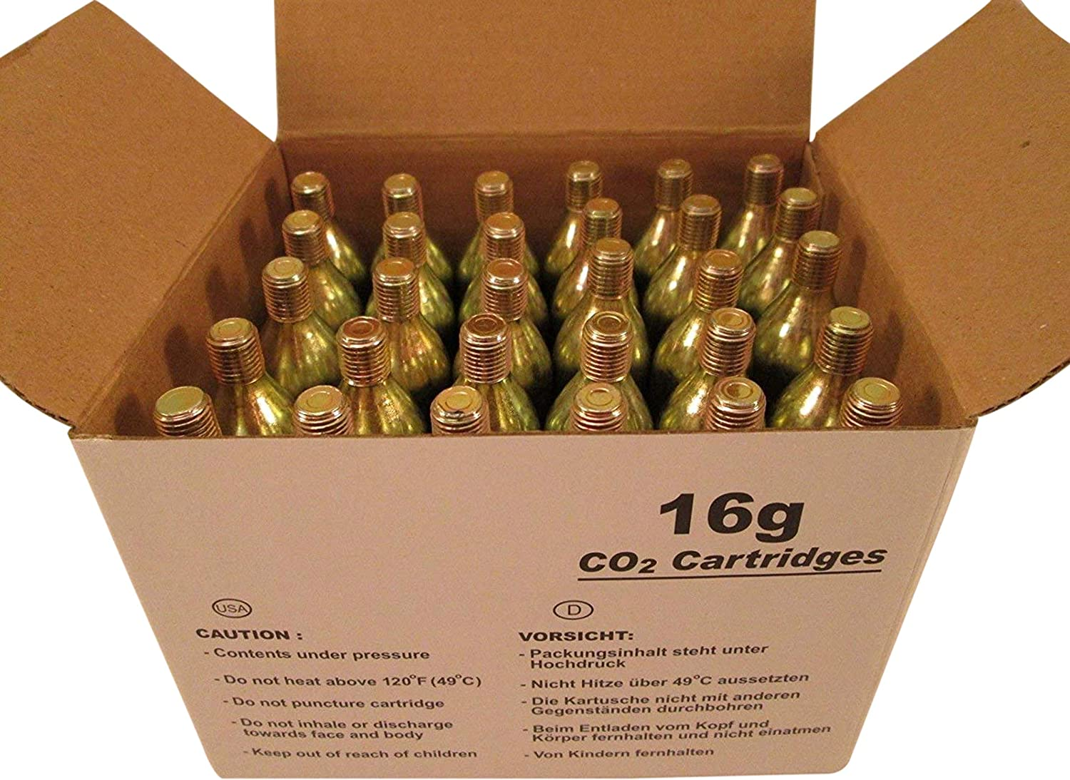 Box of 10 Redrock 16 gram threaded CO2 Cartridges Genuine Innovations compatible