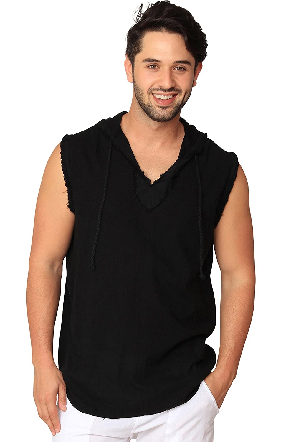 PURE PLANT HOME Men's Sleeveless Cotton Beach Hoodie Hipster Hooded Tanktop With Drawstring PURE COTTON