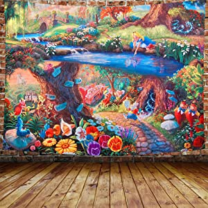 """DBLLF Fairytale Forest Tapestry Alice in Wonderland Tapestry 80""""x60"""" Rabbit Motion Cups Hearts and Flower Character Alice Cartoon Style, Wide Wall Hanging for Bedroom Living Room Dorm DBLS1304"""