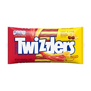 TWIZZLERS Filled Twists, Sweet & Sour Flavored Licorice Candy