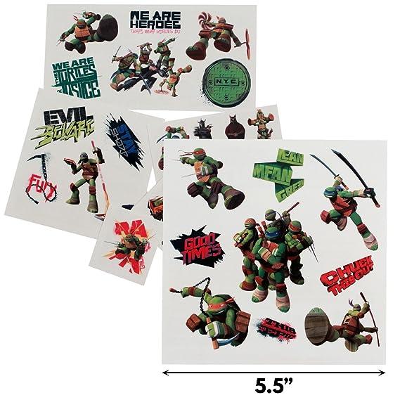 Amazon.com: Teenage Mutant Ninja Turtles Tatuajes Temporales ...