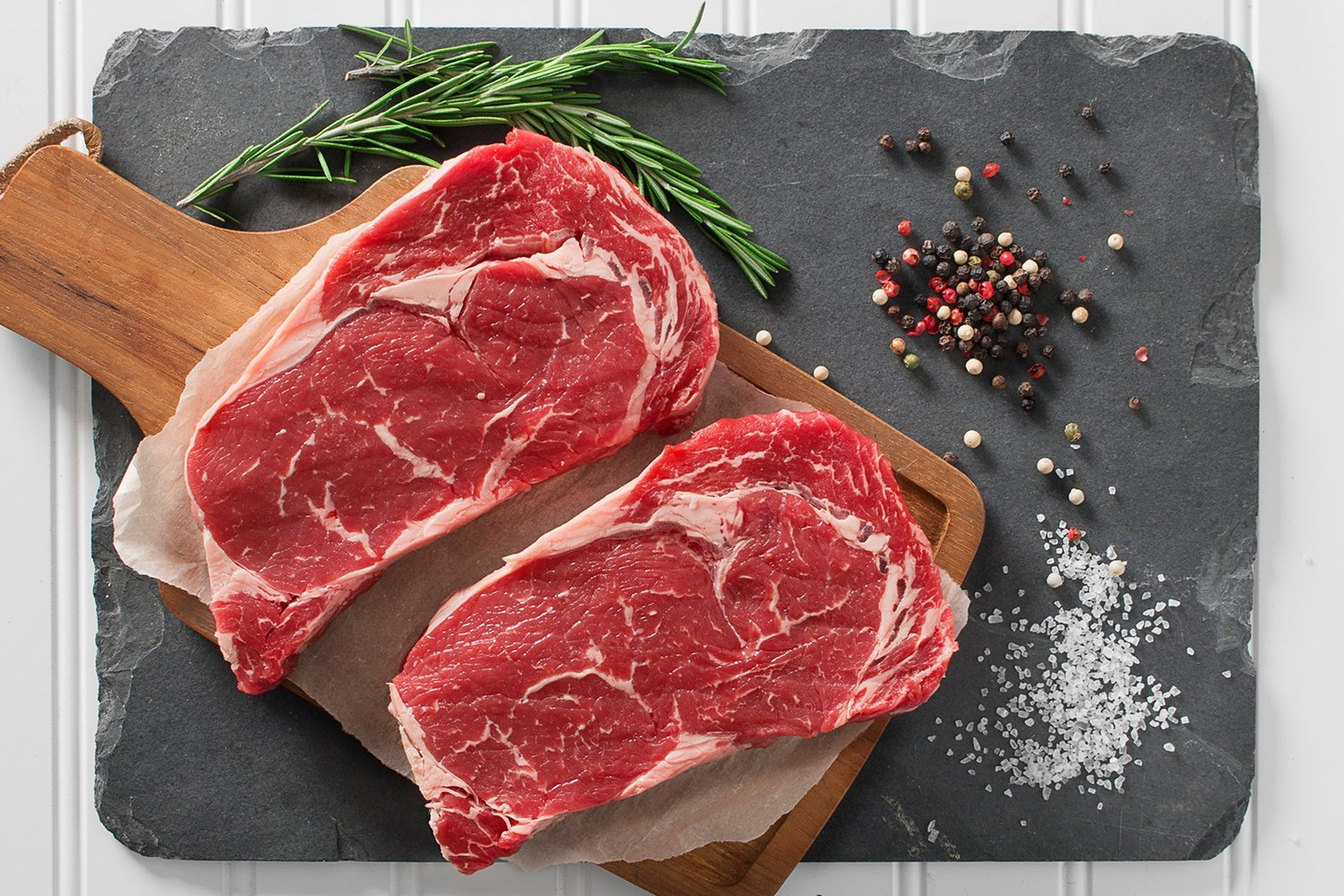 Greensbury Market - 6 (8 ounce) USDA Certified Organic Grass-Fed Ribeye Steaks - Born and Raised in the USA