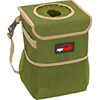 EPAuto Waterproof Car Trash Can with Lid and Storage Pockets, Green