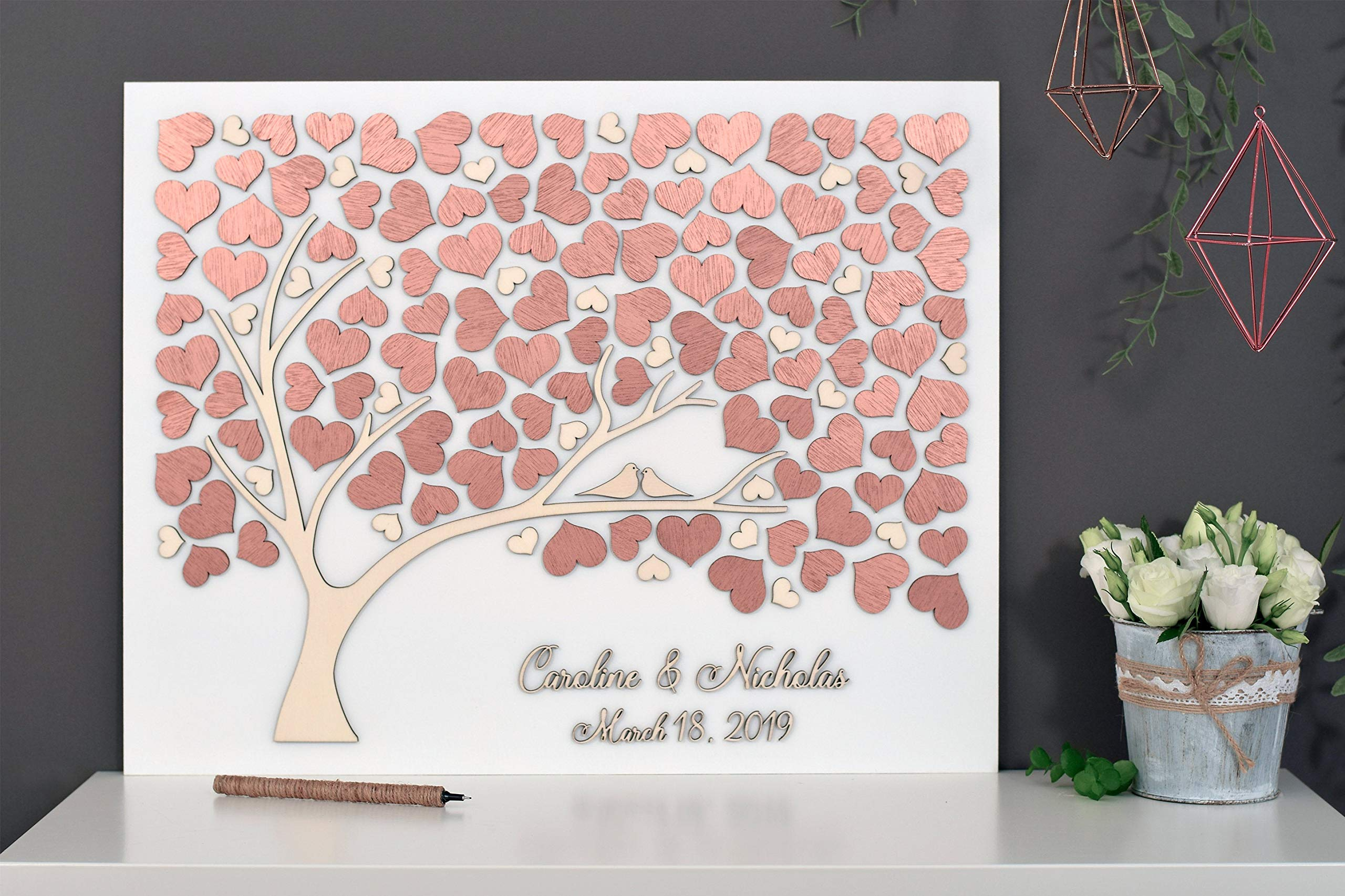 LOVE NILE Rose Gold Tree Wedding Guest Book Alternative Tree Wood Custom Unique Guest Book Hearts Leaves Rustic Wedding Rustic Wooden Tree of Life Personalized Wedding Decor
