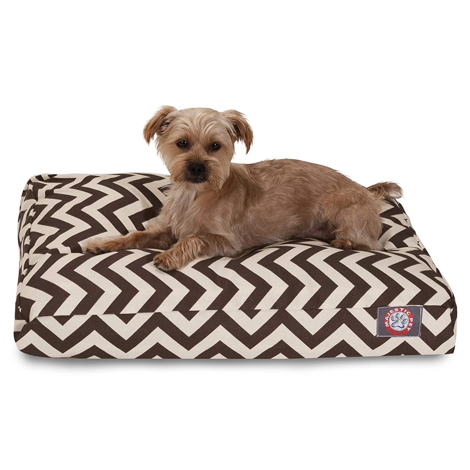 Chocolate Chevron Small Rectangle Indoor Outdoor Pet Dog Bed with Removable Washable Cover by Majestic Pet Products