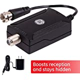 GE Indoor TV Antenna Amplifier Low Noise Antenna Signal Booster Clears Up Pixelated Low-Strength Channels HD TV Digital VHF UHF AC Power Adapter Black 42178