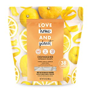 Love Home and Planet Dishwasher Detergent, Citrus Yuzu & Vanilla, 38 count