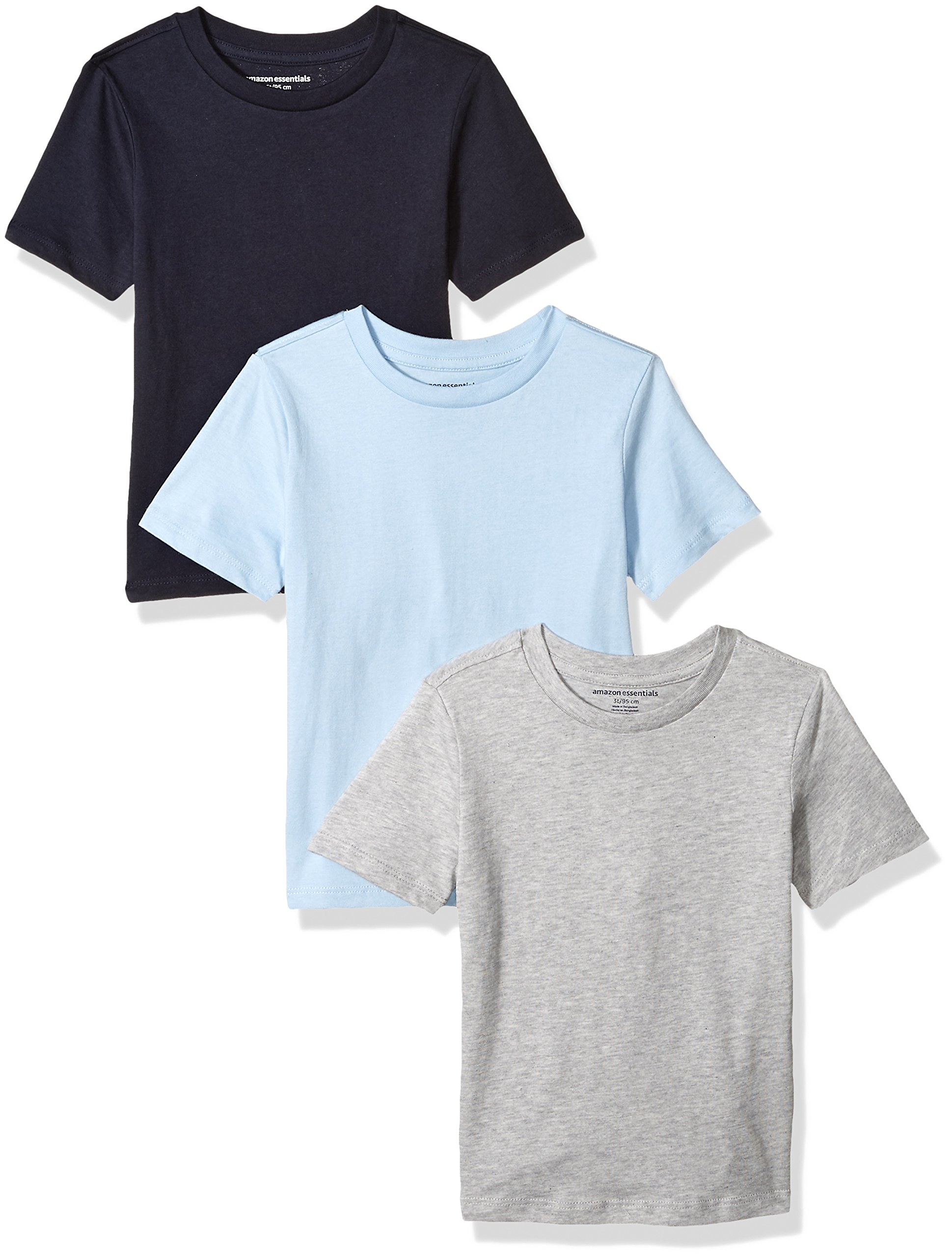Amazon Essentials Toddler Boys' 3-Pack Short Sleeve Tee, Light Blue/Heather Grey/Navy, 2T