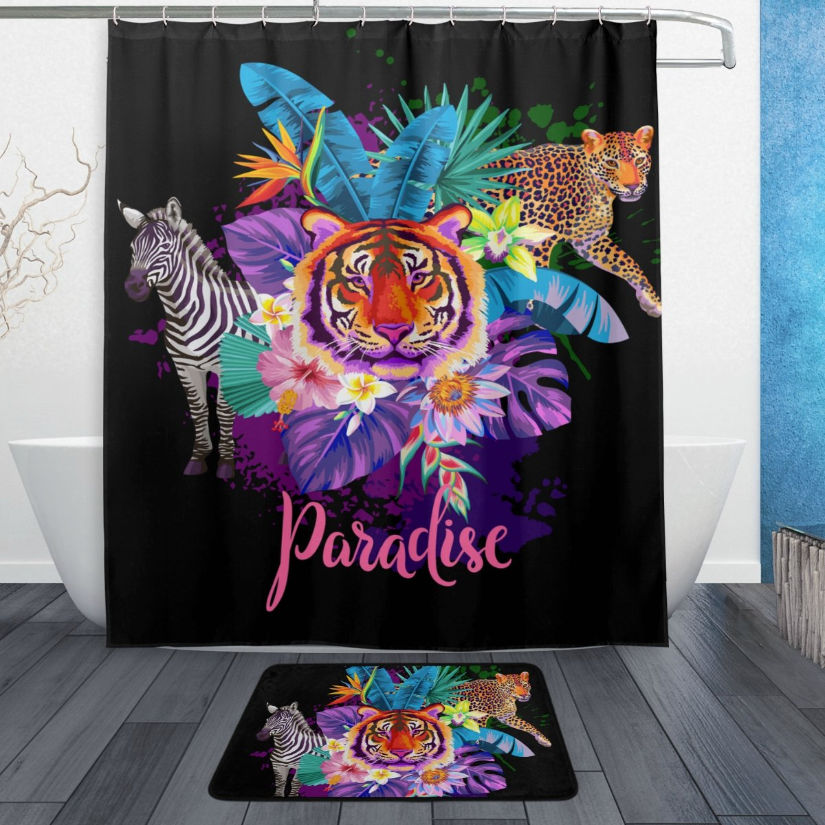 U LIFE Tropical Paradise Summer Tiger Animals Floral Flowers Butterfly Shower Curtain Set and Bathroom Area Rugs Mats 60 x 72 inch by ALAZA