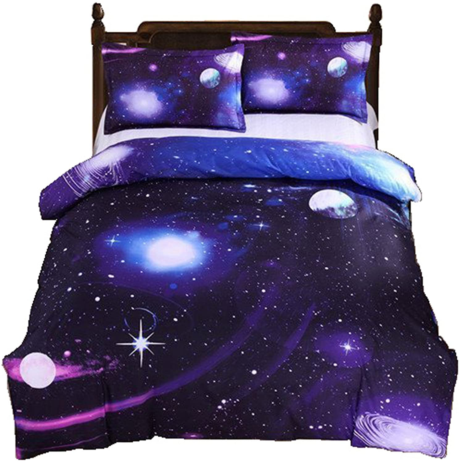 2 PCS Galaxy Bedding Sets Duvet Cover Sets Kids Bedding for Boys and Girls Teens Twin KK07