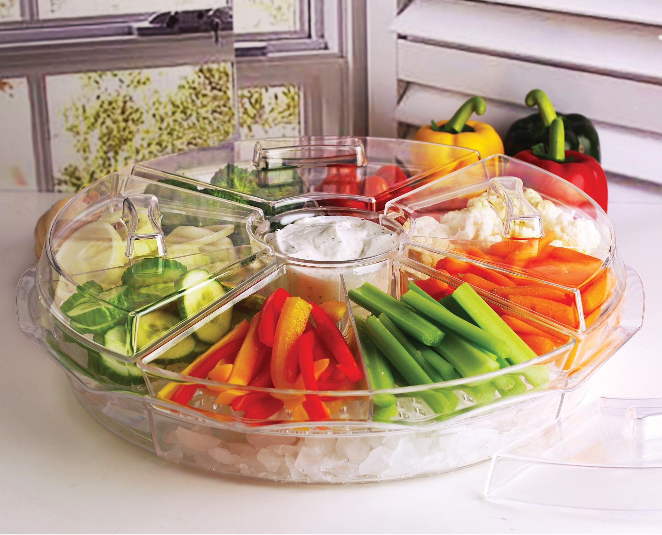 Circleware Acrylic 8 Section Cold Chip & Dip Salad Snack Dessert Bowl Set with Lids & Ice Serving Preserving Tray Dish, 16.5'', Clear