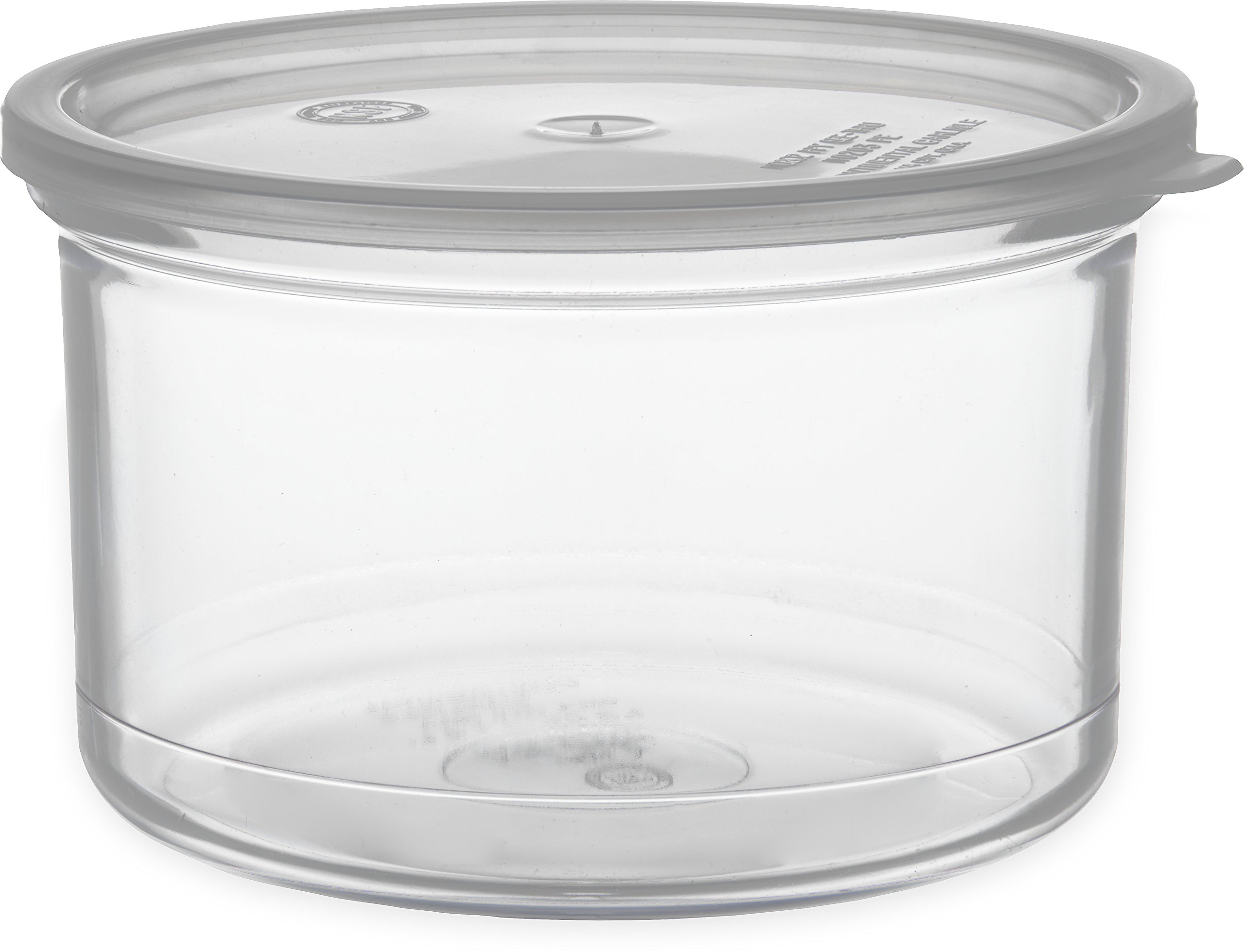 Carlisle 031607 Solid Color Commercial Round Storage Container with Lid, 1.5 Quart Capacity, Clear (Pack of 6) by Carlisle