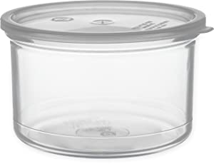 Carlisle 031607 Solid Color Commercial Round Storage Container with Lid, 1.5 Quart Capacity, Clear