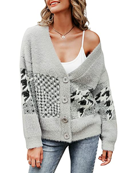3f1775df168 Miessial Women's V Neck Cardigan Sweaters Plaid Fuzzy Button Up ...