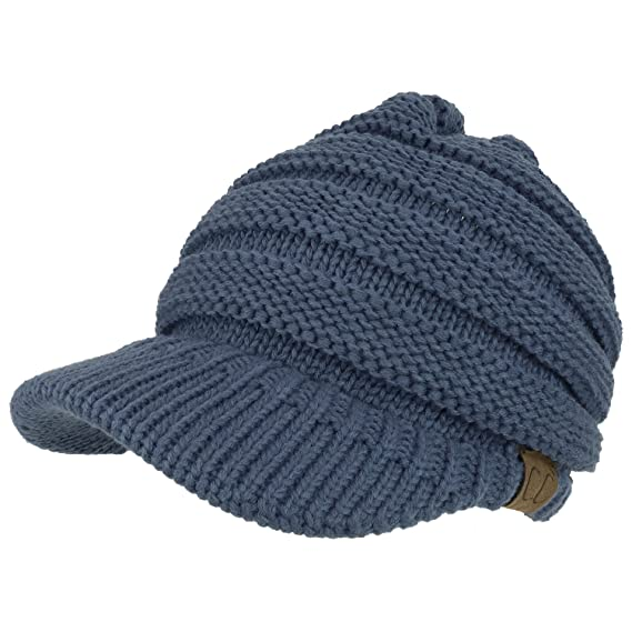 Trendy Apparel Shop Women's Ribbed Knit Winter Ponytail Visor Beanie Cap - Dark Denim best ponytail beanies