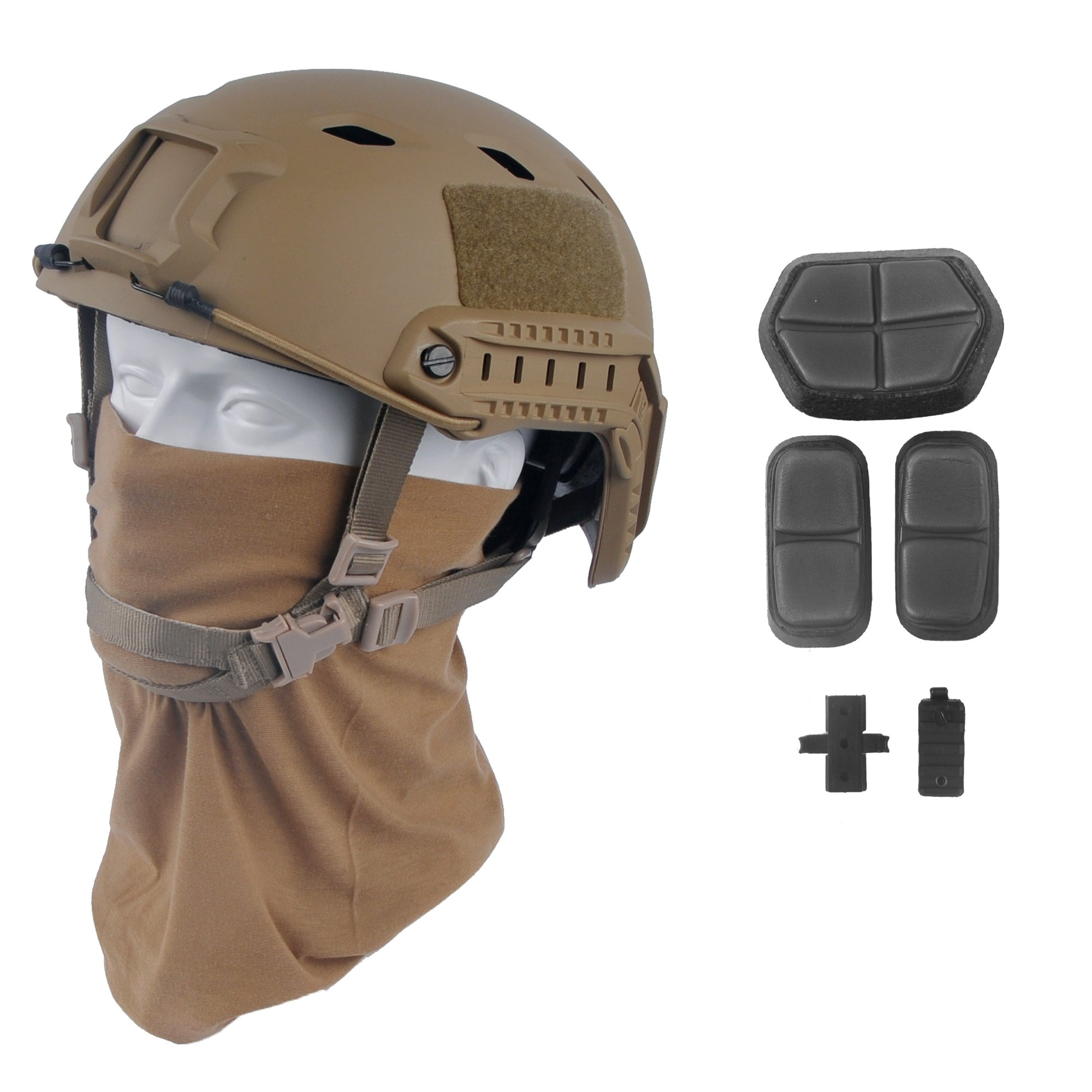 LOOGU Fast BJ Base Jump Military Helmet with 12-in-1 Headwear (TN) by LOOGU