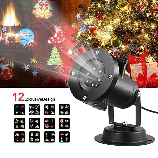 Proyector Lámpara Foco de Exterior, Proyector Luz Halloween, 12 Patrones Diapositivas, Luz Nocturna Luz Decorativa de Feista Navidad Cumpleaños y ...