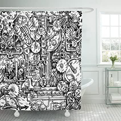 Emvency Shower Curtain Technology Steampunk Style Drawn Fantastic Mechanism Us For Music Cd Book Design Punk