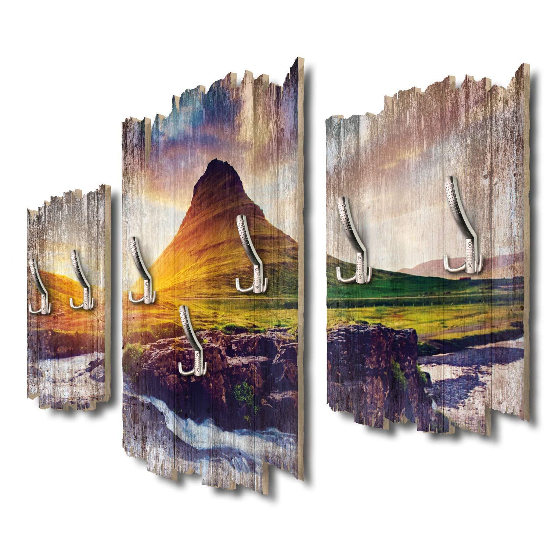 Kreative Feder Berg Kirkjufell Sonnenuntergang Designer Wandgarderobe Flurgarderobe Wandpaneele 95 x 60 cm aus MDF-Holz DTGH003