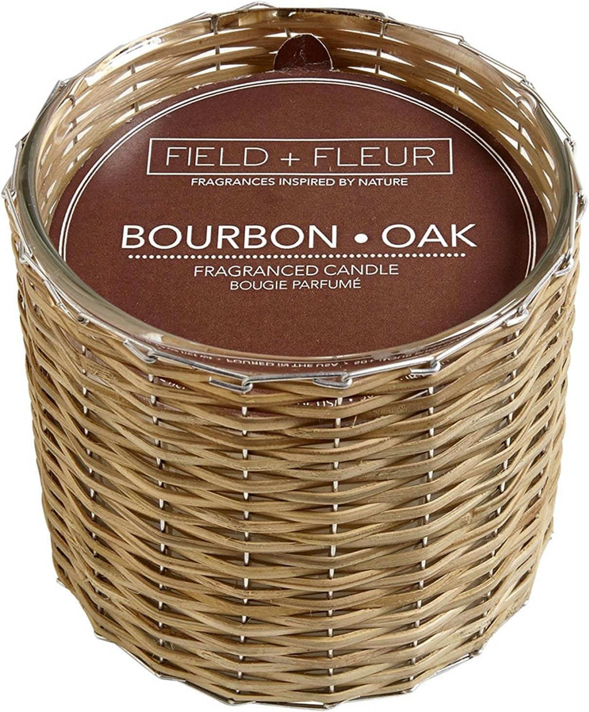 BOURBON+OAK Field Fleur Reed 2-Wick Handwoven 12 oz Scented Jar Candle
