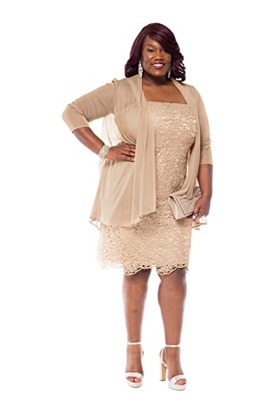 Rm Richards Womens Plus Size Embroidered Lace Jacket Dress Mother