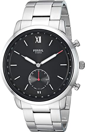 Fossil Mens Hybrid Smartwatch Watch with Stainless-Steel Strap, Silver, 21 (Model: FTW1180)