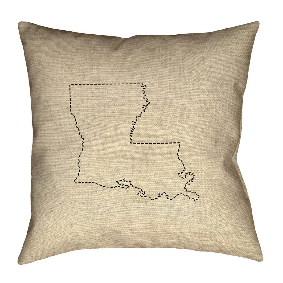 ArtVerse Katelyn Smith 26 x 26 Spun Polyester Louisiana Outline Pillow