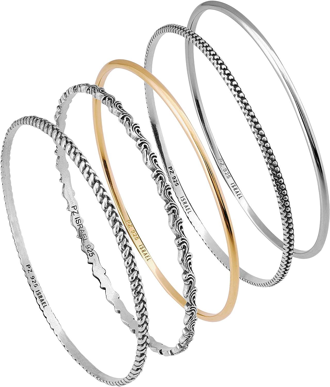 925 Sterling Silver Rose-tone Polished Bypass Slip-on Hinged Bangle Bracelet