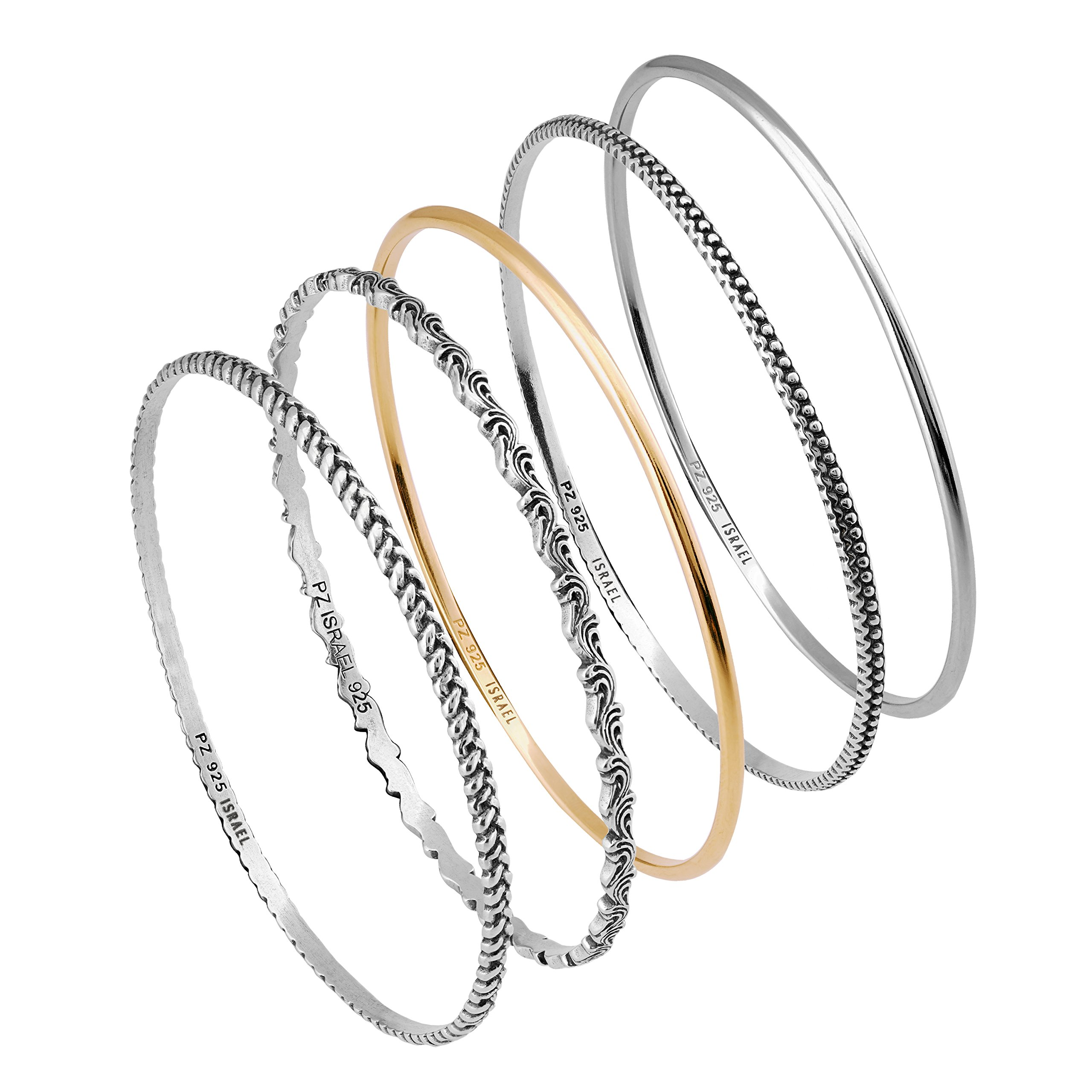Paz Creations ♥925 Sterling Silver Set of 5 Two Tone Bangles (7.25)