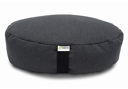 Bean Products Hemp Shadow Gray - Oval Zafu Meditation Cushion - Yoga - Organic Buckwheat Fill - Made in USA