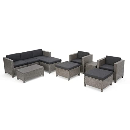 GDF Studio Patagonia Outdoor 10 Piece Wicker Sofa Collection w/Water Resistant Cushions (Dark Grey/Mixed Black)