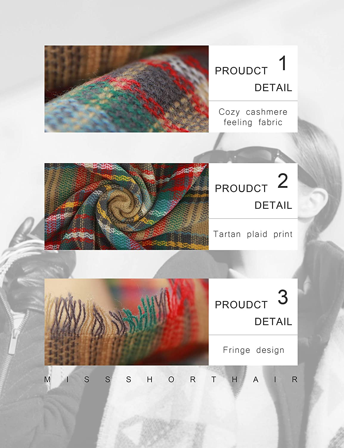 MissShorthair Womens Light Weight Colorful Painting Plaid Tartan Infinity Scarf