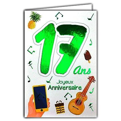 69-2017 - Tarjeta feliz cumpleaños de 17 años para niño o ...
