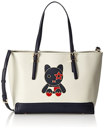 Tommy Hilfiger Honey Medium Tote Mascot, Cabas femme, Weiß