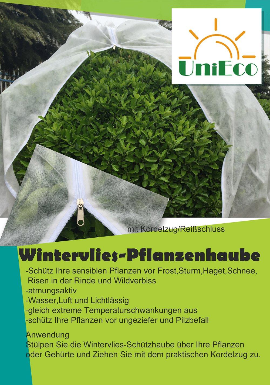 UniEco 760x760cm 50g/m² Winterschutz für Pflanzen Kübelpflanzensack Frostschutzhaube Frostschutzvlies beige super Stark mit Reißverschluss
