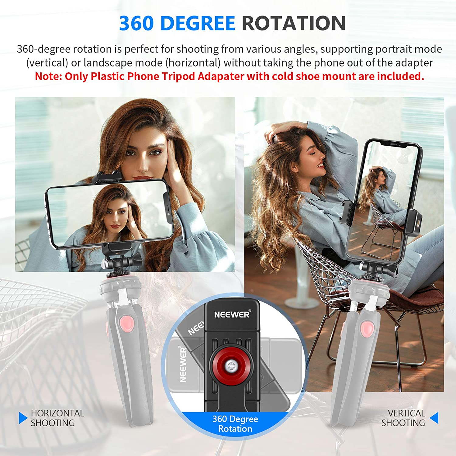 Neewer Phone Tripod Mount Adapter with 1//4 Cold Shoe Mount 1.9-3.9 Inches Width 360 Rotation Phone Holder Compatible with Nikon Canon Sony DSLR Cameras//DJI Ronin SC Gimbal Stabilizer//Ring Light