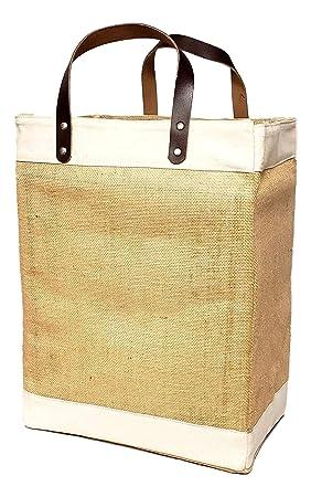 75a5daaec Bolsa grande de yute y algodón ecológica con asa de cuero: Amazon.es: Hogar