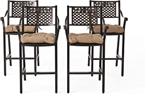 Great Deal Furniture Renata Outdoor Barstool with Cushion (Set of 4), Shiny Copper and Tuscany